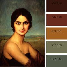 """Paleta de color """"retrato de una dama"""" Julio Romero de Torres"""