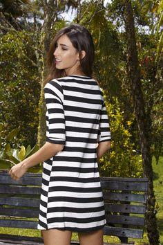 MAPLE @maple_col  °°°°°VESTIDO RAYAS BLANCO Y NEGRO /// black and white striped dress Short Sleeve Dresses, Dresses With Sleeves, Striped Dress, Black And White, Fashion, Vestidos, Moda, Striped Dress Outfit, Sleeve Dresses