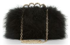 """BCBG MAXAZRIA     Fluttering feathers give this BCBG minaudiere a celebratory spirit.  Feather-covered hard-shell minaudiere.  Golden-knuckle top with faceted pave crystals.  Chain strap with 10"""" drop may be tucked inside.  Hinged bottom; clasps at top.  Inside, faille lining; cardholder pocket.  ..."""