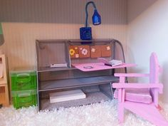 DIY Barbie desk in silver/pink recycled from desk organizer