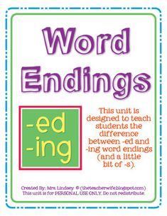 """This unit is designed to teach students the difference between """"-ed"""" and """"-ing"""" word endings (and a little bit of """"-s""""). It includes 2 posters (-ed and -ing), 2 art activities, and 4 games."""