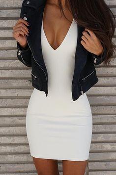 Sexy V Neck Sleeveless Backless White Polyester Sheath Mini…