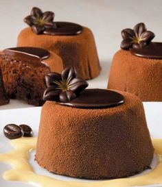 Delicious chocolate mousse puddings topped with dark chocolate ganache! Fancy Desserts, Just Desserts, Delicious Desserts, Dessert Recipes, Yummy Food, Dessert Food, Mini Cakes, Cupcake Cakes, Cupcakes