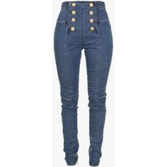 Stretch cotton denim sailor pants | Women's pants | Balmain ($1,265) ❤ liked on Polyvore featuring pants, blue denim pants, balmain, denim trousers, blue trousers and blue pants