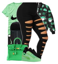 """"" by ladiijae ❤ liked on Polyvore featuring Hollister Co., &K, NIKE and Hermès"
