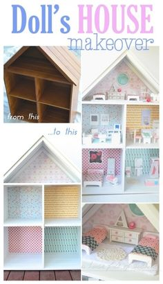 Sweet dolls house makeover by A house full of sunshine for Practically Functional