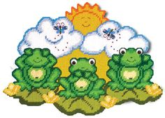 Plastic Canvas Kit  Frog Trio by Design Work by PlasticCanvasKits