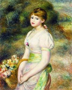 Young Girl with a Basket of Flowers by Pierre Auguste Renoir.