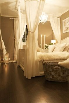 bedroom décor. Doing this curtain idea in our bedroom! But with our brown & teal colors that we have used for years.