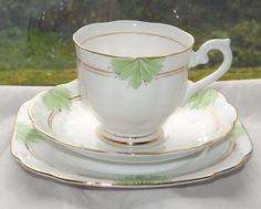 Royal Albert Crown China 1930s Trio Cup Saucer Plate Green Leaf and Gilt | eBay