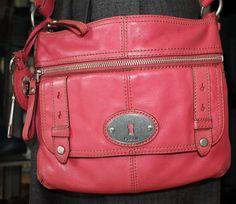 Fossil Pink Coral Leather Cross Body Shoulder Handbag Women Purse #Fossil #CrossBodyShoulderHandbag