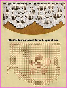 Olá! Como já devem terem observado,   eu adoro barrados...   E aí está mais uns para vocês! Crochet Edging Patterns, Crochet Borders, Crochet Diagram, Crochet Chart, Thread Crochet, Knit Or Crochet, Crochet Stitches, Free Crochet, Crochet Curtains