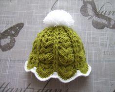 Handmade Khaki green Baby girls HAT, fancy pattern crochet hat for Newborn Girl, PREMIE, NEWBORN - 6 Months, green hat with white pom pom by ramutez on Etsy