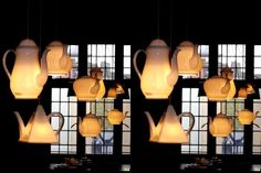 Lamps are a great way to create a beautiful atmosphere, here you will find great ideas on how to make a lamp shades and funky up cycling . Paper Lampshade, Lamp Shades, Light Shades, House Joy, Fun House, Teapot Lamp, Make A Lamp, Lights Fantastic, Houses