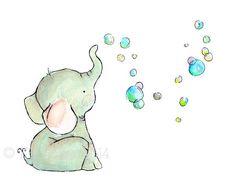 Children's Art Elephant Bubbles Art Print by trafalgarssquare