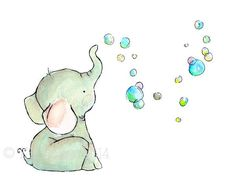 Children's Art Elephant Bubbles Art Print by trafalgarssquare