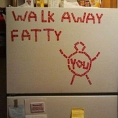 """At first when I was looking at this I though, """"that actually seems a bit discouraging, having that on the fridge also kinda says don't eat"""" but then I realized, """"Its on the freezer, not the fridge. who ever did this wasn't saying don't eat, they were saying, don't go for the unhealthy frozen meals and icecream/frozen treats"""""""