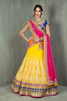 Net lucknowi pannel ghagra with rawsilk blouse and net dupatta embellished with kundan, sequins and dori work