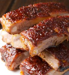 Recipe for St. Louis Ribs with Maple BBQ Sauce - Trying to re-create this life-changing plate of meat and bones at home, I stumbled across a pretty tasty sounding maple syrup BBQ sauce, and from her description of the ribs I guessed them to be the meaty St. Louis variety.