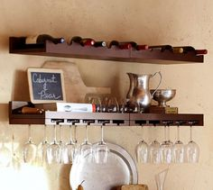 Holman Entertaining Shelves | Pottery Barn - To balance out the height of the liquor cabinet, to the right of the mirror