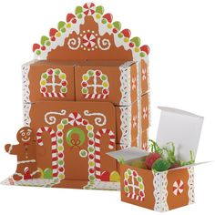 Gingerbread House Favor Box Centerpiece: Christmas Decor : Walmart.com