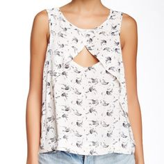 Free People look through top New with tags, Free People printed cut out top in tea combo. Fits true to size. Free People Tops Blouses
