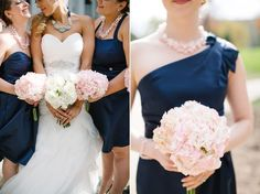 Grab some inspiration with these wedding day shots full of navy and blush color pairings!