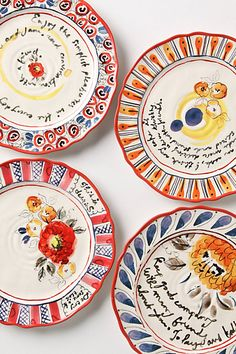 Script & Posy Plates - Anthropologie  Just bought these...so whimsical