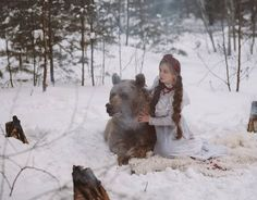 Modelling with Real Life Bear Olga Barantseva Captures Dreamlike Scenes With a 700 Kilogram Br