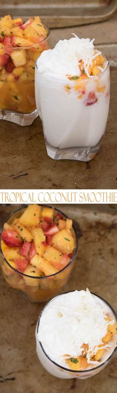 Healthy Mango Smoothie with Coconut and Pineapple. Simple and decadent tropical smoothie recipes with fresh fruit. Pineapple mango and strawberries blended with coconut make this a refreshing smoothie that is a perfect summer drink. Grab a spoon and a straw and dig in to this delicious smoothie.
