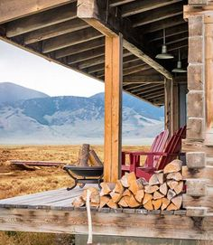 Rustic Cabin Porch in the mountains.