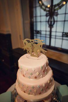 Cute simple pastel diamond wedding cake