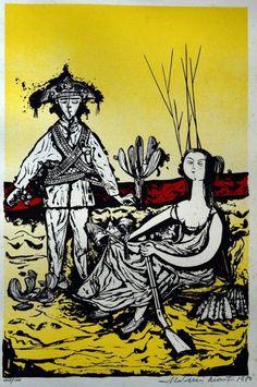 ALDEMIR MARTINS- LAMPIÃO E MARIA BONITA, serigrafia 008-100 de 1980, medindo 60cm x 50cm,assinado no C.I.D