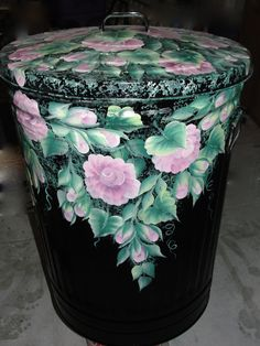 Painted Hanging Roses Metal Trash Can - 10, 20, & 30 Gallon - Free Shipping!
