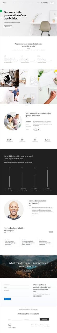 Piclo. is clean, minimal and modern design 2in1 responsive #HTML5 template for digital #agency website download now..