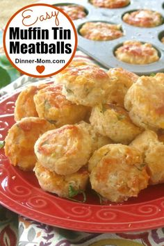 Easy Chicken Meatballs are baked in the oven in a mini muffin tin! They're perfect for spaghetti or subs or dipping in marinara sauce.  #easymeatballs