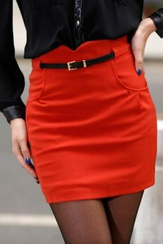 Orange Pencil Skirt W Belt - Click for More...