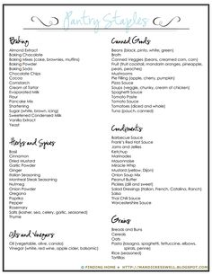Organization ideas. Master grocery list