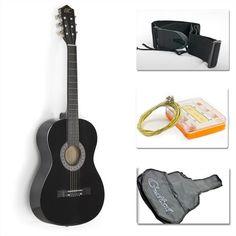"""I like the wood. 38"""" Black Acoustic Guitar Starter Package (Guitar, Gig Bag, Strap, Pick) #acoustic-guitar-starter-package"""
