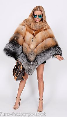 NEW MULTI COLOR SAGA FOX FUR PONCHO CLAS OF SABLE MINK CHINCHILLA COAT FIRE GOLD