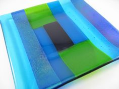 Fused Glass Plate Square Blue Green Stripes by GlassArtByMargot, $45.00