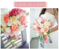 Ginger Lily. La Floripedia Parte 2. Una boda en Costa Rica. El ramo de la novia. Con ginger, rosas, paniculata, alchemilla, clavel y campanulas.