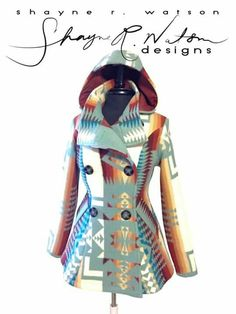 Shane Watson Designs — ❤️ this! Native American Clothing, Native American Fashion, Native Fashion, Pendleton Clothing, Cute Country Girl, Native Wears, Moderne Outfits, Pendleton Jacket, Native Style