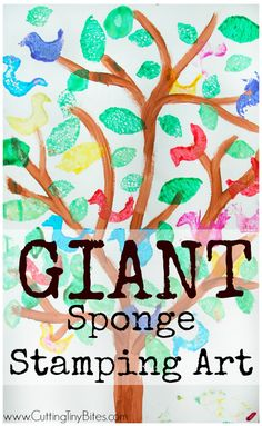 Giant sponge stamping art project for kids. Make a tree form and let your preschooler, kindergartner, or elementary child stamp leaves and birds with paint to make a beautiful work of art!