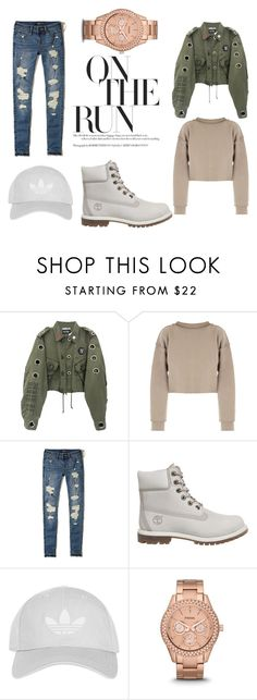 """""""Untitled #4"""" by crina-marginean ❤ liked on Polyvore featuring My Mum Made It, Hollister Co., Timberland, Topshop and FOSSIL"""