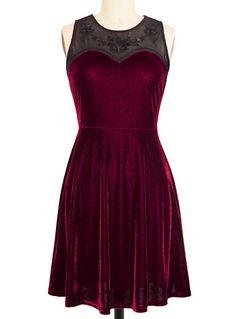 Dark Heart Velvet Dress in Burgundy