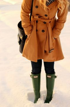 Hunter boots and wool coat
