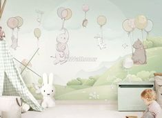 Animals Flying with Balloon Wallpaper Mural • Wallmur®