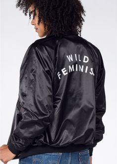 Wild Feminist™  Bomber—Because every voice needs to be heard. Because we stand taller when we stand together. Because we are not finished yet. Because of this, we choose to be Wild. By Wildfang.