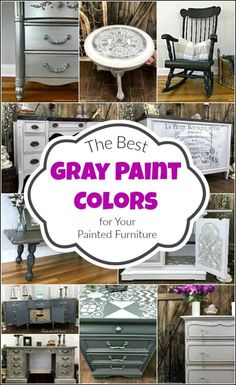 The Best Gray Paint Colors for Your Painted Furniture, DIY and Crafts, Here are the best gray paint colors to choose from when planning your next DIY project. The gray furniture paint options are endless. Diy Grey Furniture, Gray Painted Furniture, Chalk Paint Furniture, Colorful Furniture, Refinished Furniture, Furniture Redo, Rustic Furniture, Bedroom Furniture, Outdoor Furniture